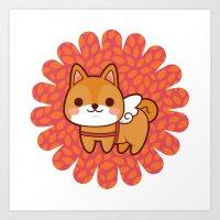 shiba Art Prints featuring Shiba wings by Azul Piñeiro
