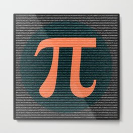 First 10,000 digits of Pi, blue and orange. Metal Print