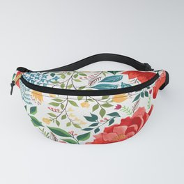 Red Peonies Gouache Fanny Pack