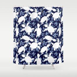 LeatherBack Sea Turtle print pattern Nautical Shower Curtain