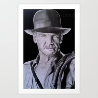 indiana jones Art Prints featuring Harrison Ford (Indiana Jones) by Andulino