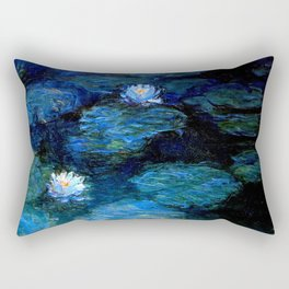 monet water lilies 1899 Blue teal Rectangular Pillow