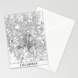 Columbus White Map Stationery Cards