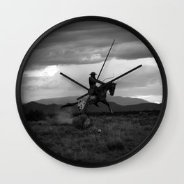 Black and White Cowboy Being Bucked Off Wall Clock