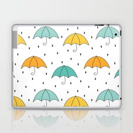 cute cartoon autumn pattern with umbrellas and rain Laptop & iPad Skin