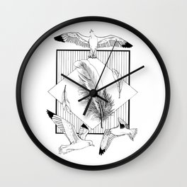 Seagulls with feathers - Ink artwork Wall Clock