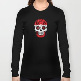 Sugar Skull with Roses and Flag of Austria Long Sleeve T-shirt