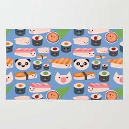 Kawaii sushi blue Rug