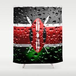 Flag of Kenya - Raindrops Shower Curtain