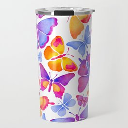 Colorful Butterfly Watercolor Travel Mug