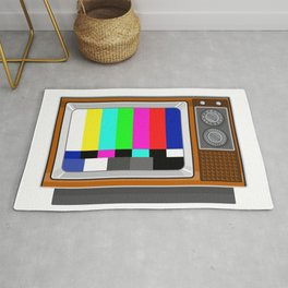 Retro Television Set TV Test Card Signal Pattern Rug