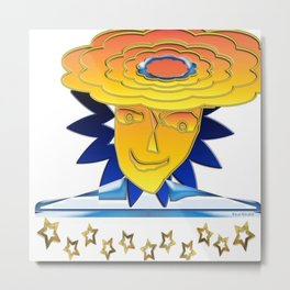 Doodle Sun-flower-man, abstract, fun design Metal Print