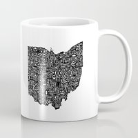 ohio Mugs featuring Typographic Ohio by CAPow!