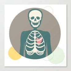 Skeletons have hearts too. Canvas Print