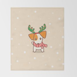 Jack Russell Terier with Reindeer Antlers on snowy background Illustration Throw Blanket