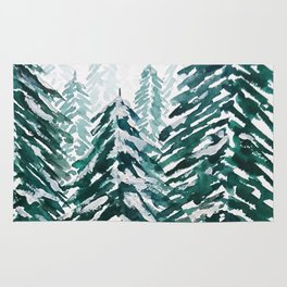 snowy pine forest in green Rug