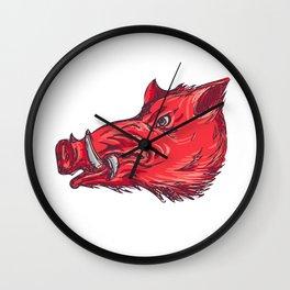 Wild Boar Razorback Head Side Drawing Wall Clock