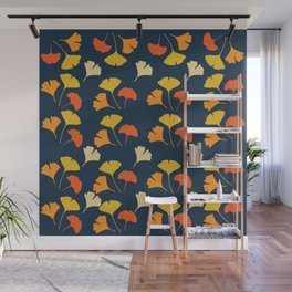 Colorful Ginkgo Leaves Pattern Blue Background Wall Mural