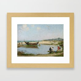 Guillermo Gomez Gil, 1862 - 1946, Women in a Cove by the Beach Framed Art Print
