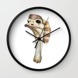 Ostrich in a Coonskin Hat Wall Clock