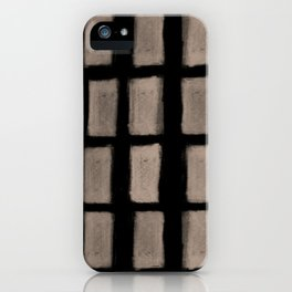 Brush Strokes Vertical Lines Nude on Black iPhone Case