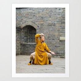 Monk at the Grreat Wall Art Print