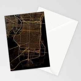 Black and gold Philadelphia map Stationery Cards