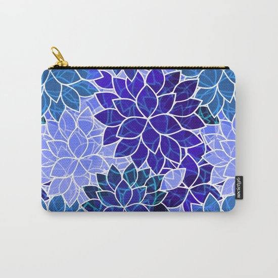 Azurite Blue Flowers Carry-All Pouch