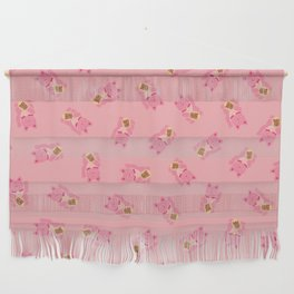 Lucky Cat Patern in Bubblegum Pink Wall Hanging