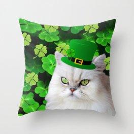 St. Patricks Day Irish Cat Throw Pillow