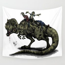 Zombies Riding a Trex Wall Tapestry