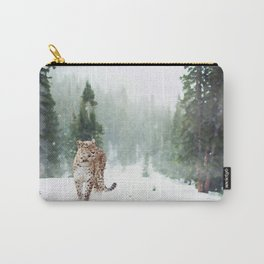 Leopard Running on Snow Carry-All Pouch
