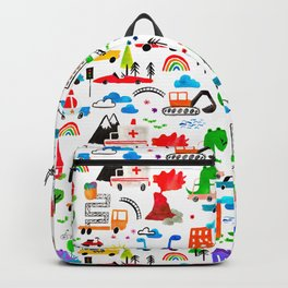 Dinosaur City Watercolor Transportation Pattern Backpack