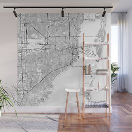 Miami White Map Wall Mural