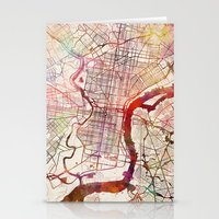 philadelphia Stationery Cards featuring Philadelphia by MapMapMaps.Watercolors