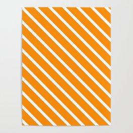 Orange Marmalade Diagonal Stripes Poster