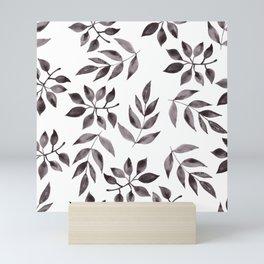 minimal watercolor leaves Mini Art Print