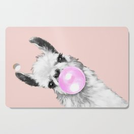 Bubble Gum Black and White Sneaky Llama in Pink Cutting Board