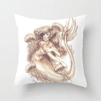 jellyfish Throw Pillows featuring Jellyfish by Bea González