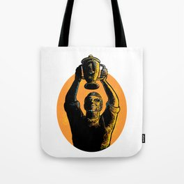 Worker Raising up Championship Trophy Woodcut Tote Bag