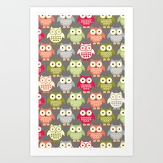 Forest Friends Owls Art Print