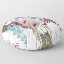 Bohemian bull skull with flowers Floor Pillow
