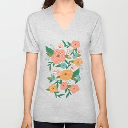 Painted Florals on Green Unisex V-Neck
