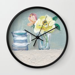 yellow rose & Jug Wall Clock