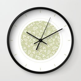 Assorted Leaf Silhouettes White on Lime Ptn Wall Clock