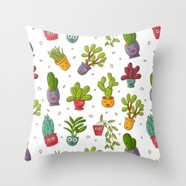 Cute Cactus Nature Succulents Pattern Throw Pillow