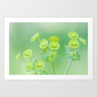 Delicate soft green flowers Art Print