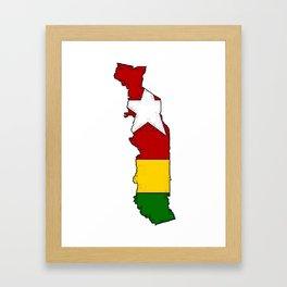 Togo Map with Togolese Flag Framed Art Print