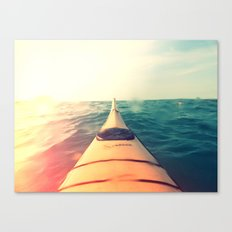 Yellow Kayak in Water Color Nature Photography Canvas Print