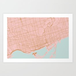Pink and gold Toronto map, Canada Art Print